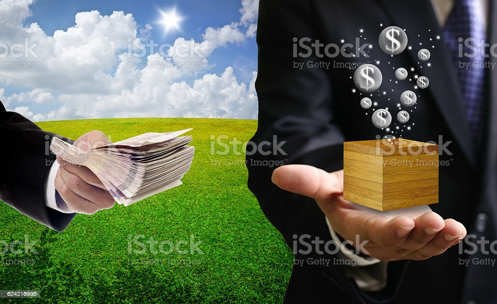 Businessman investment in bubble economy concept stock photo
