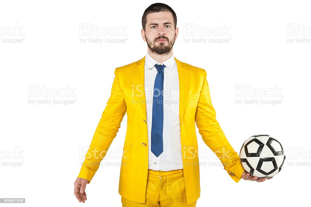 businessman invests in soccer ball stock photo