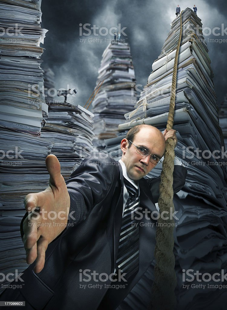 Businessman inviting you to climbing up royalty-free stock photo