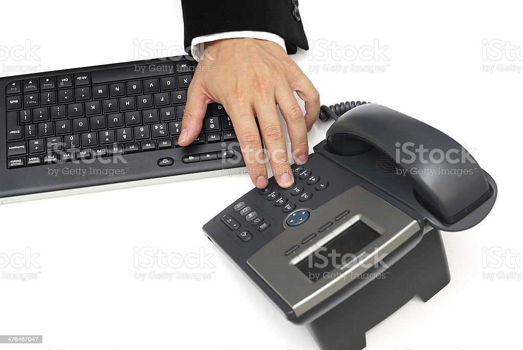 businessman is dialing  phone royalty-free stock photo