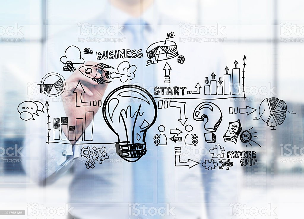 businessman is drawing a business flowchart stock photo