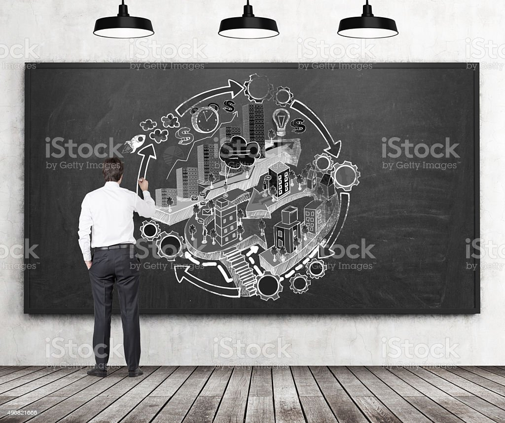 businessman is drawing a flowchart stock photo