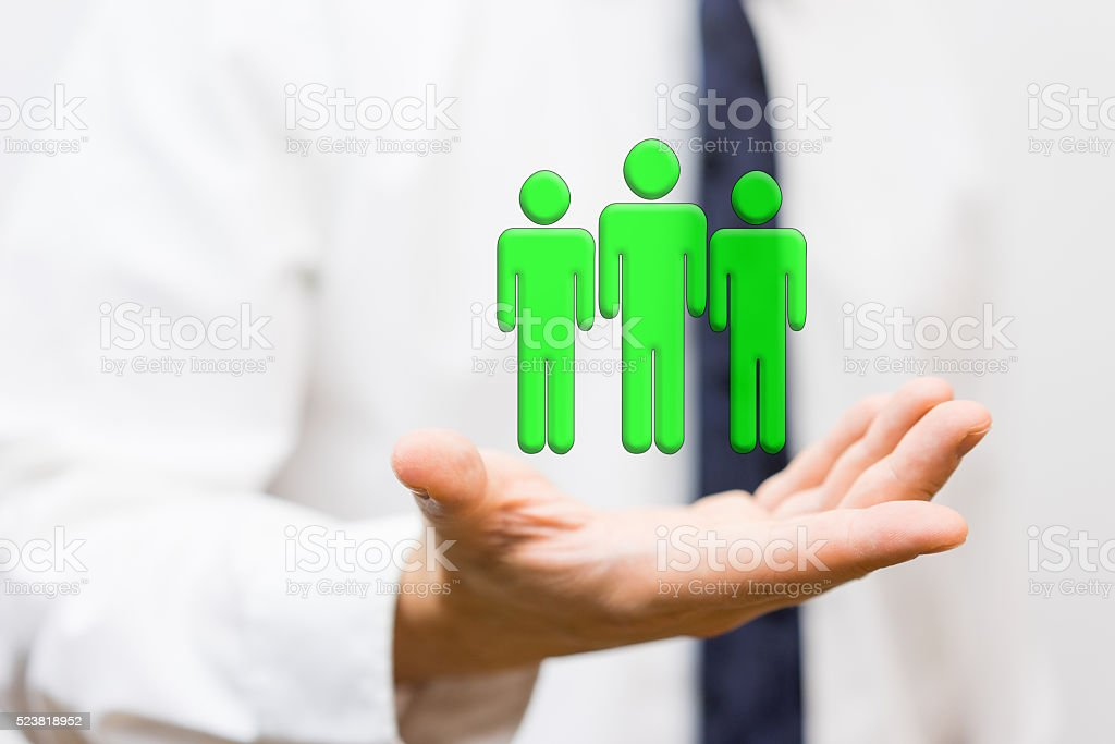 businessman is holding virtual wining team, staffing and human resources stock photo