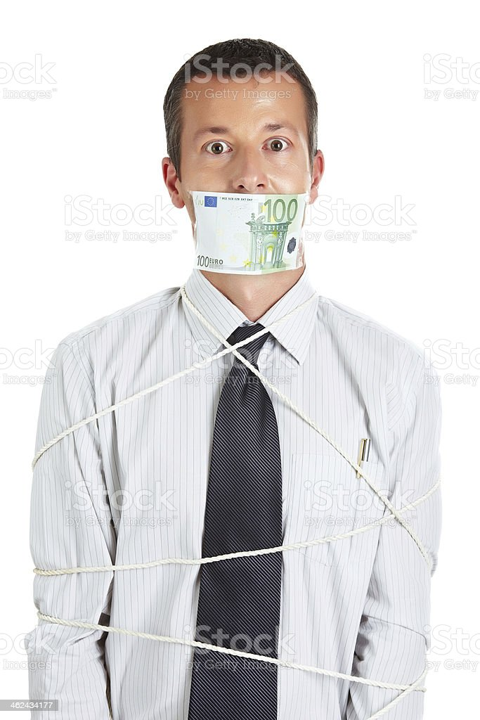 Businessman is slave to the money royalty-free stock photo