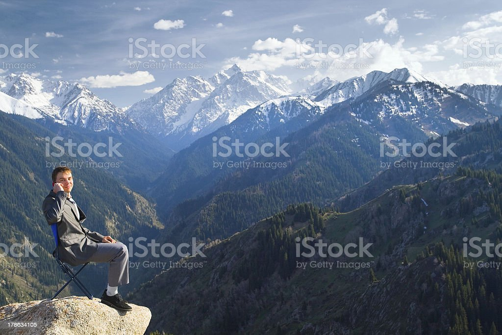 Businessman is talking about new idea by phone royalty-free stock photo
