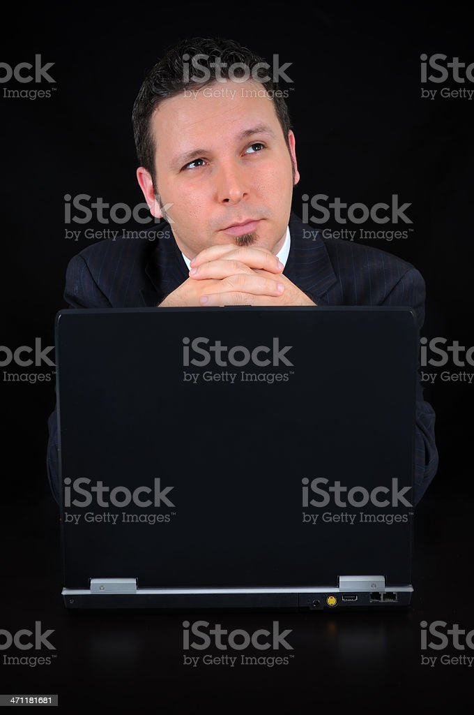 businessman is thinking royalty-free stock photo