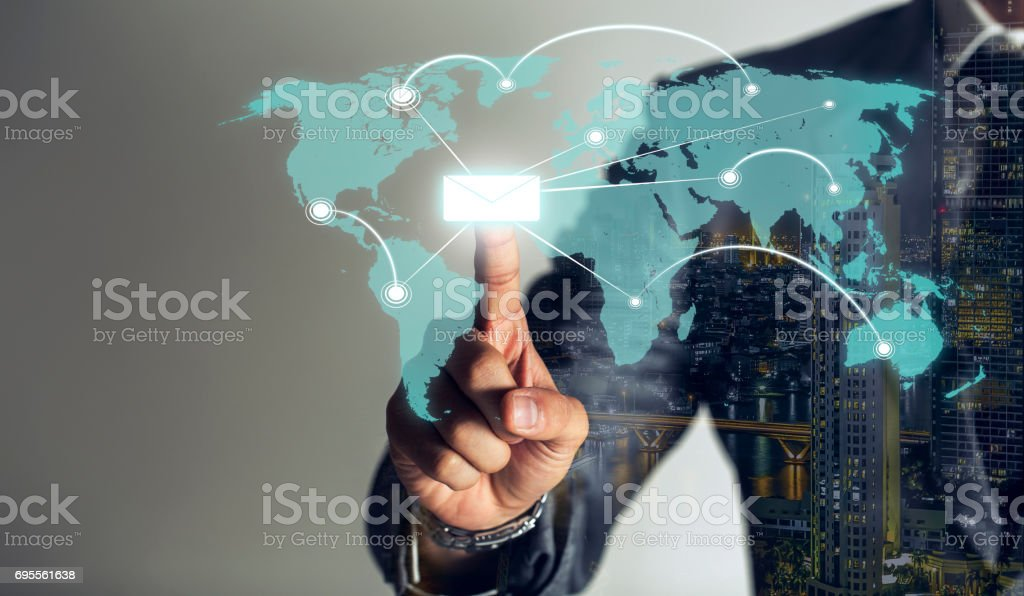Businessman is touching hologram and send data to global link viral information, cyber technology  background, double exposure. stock photo
