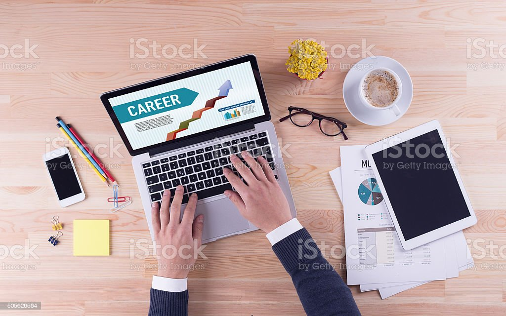 Businessman is working on desk -  CAREER stock photo