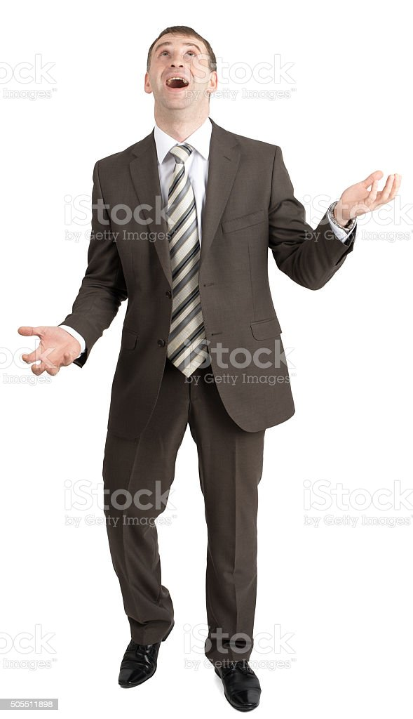 Businessman juggling invisible things stock photo