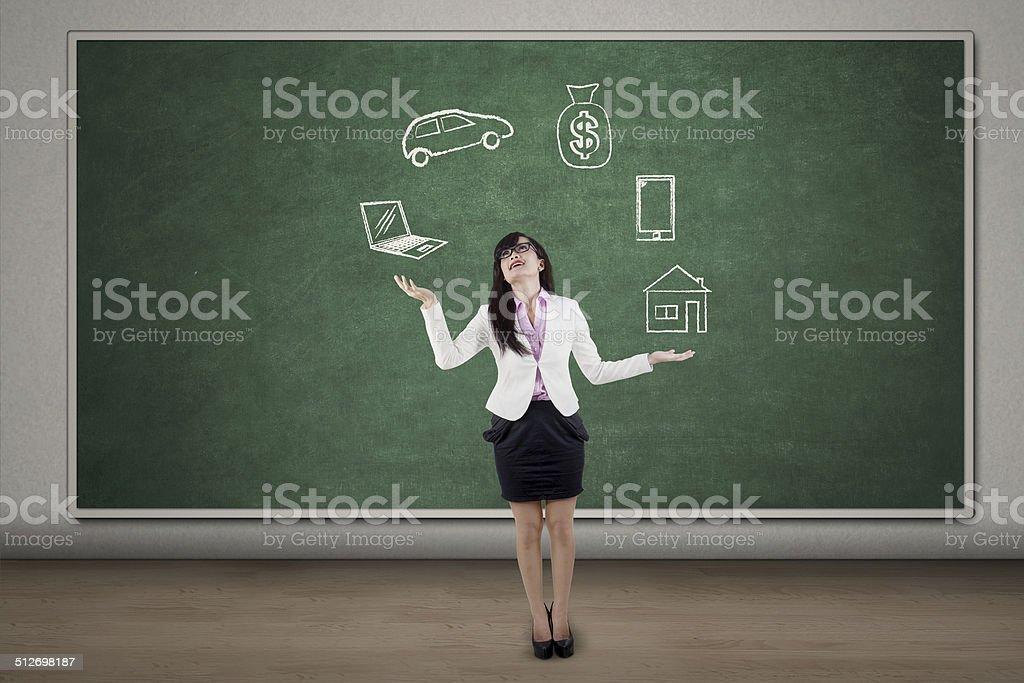 Businessman juggling symbolizing responsibilities stock photo