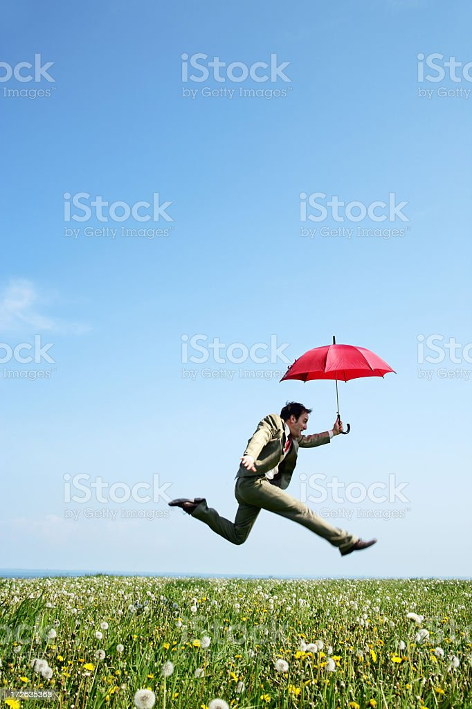 Businessman jumping in a meadow royalty-free stock photo