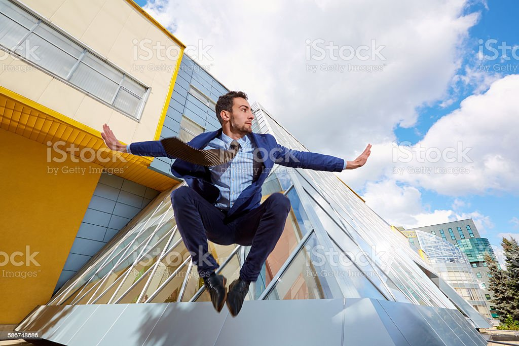 Businessman jumping. stock photo