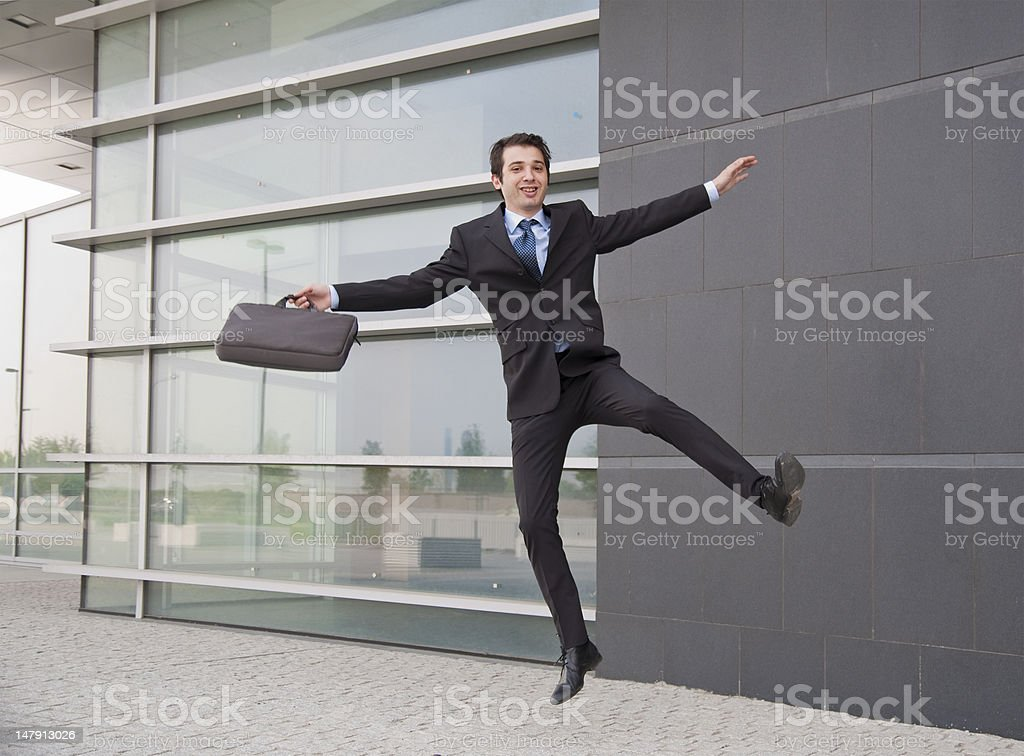 Businessman jumping with joy royalty-free stock photo