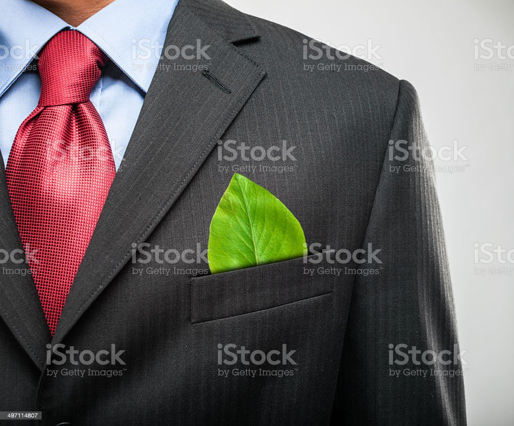 Businessman keeping a green leaf in his pocket stock photo