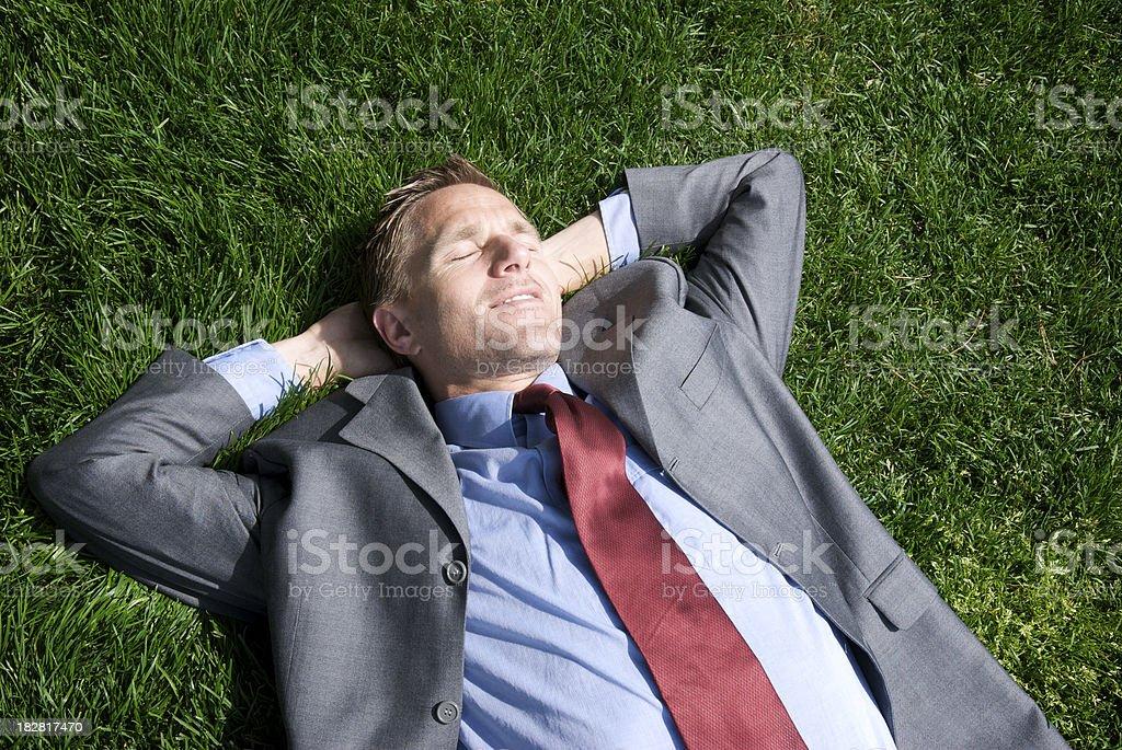 Businessman Kicks Back on Green Grass royalty-free stock photo