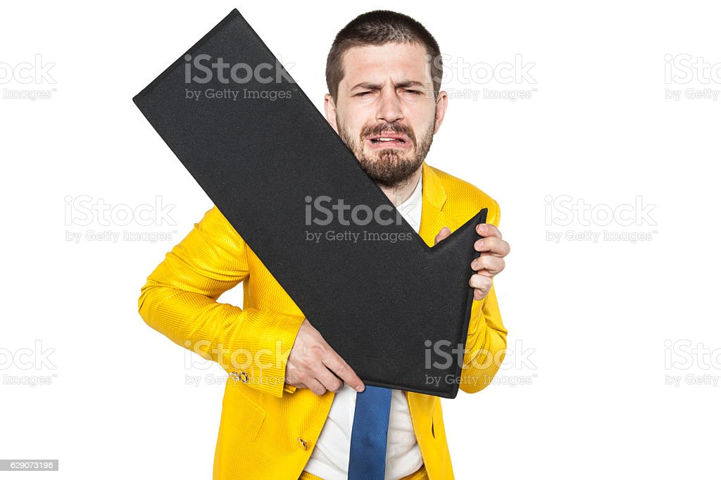 businessman laments the decline of trading on stock exchange stock photo