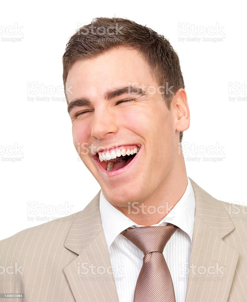 Businessman laughing and looking surprised royalty-free stock photo