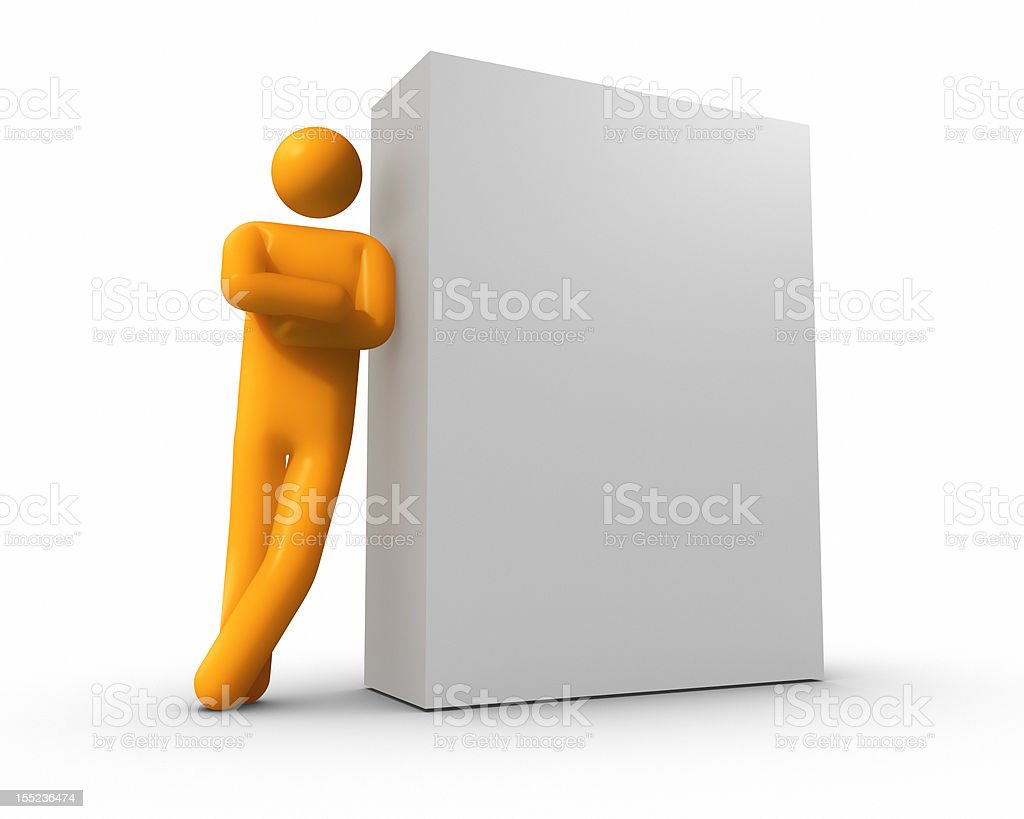 Businessman leaning against a Blank Box - isolated royalty-free stock photo