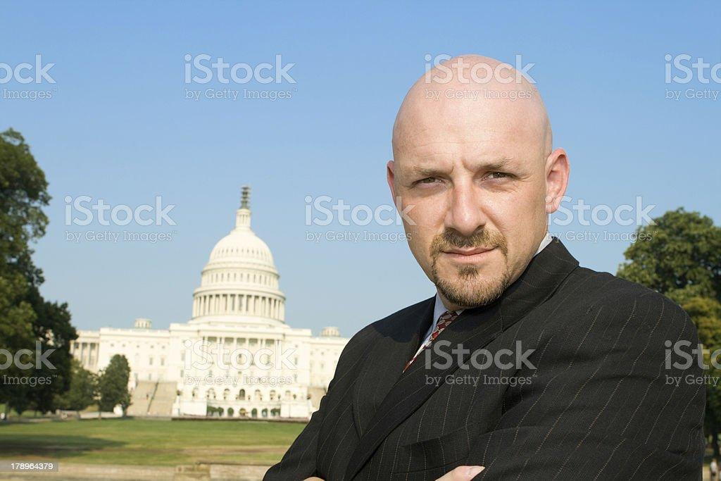 Businessman Lobbyist in Front U.S. Capitol Building, Washington DC, USA royalty-free stock photo