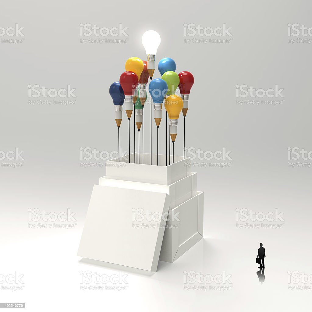 businessman looking at 3d pencil and light bulb concept outside royalty-free stock photo