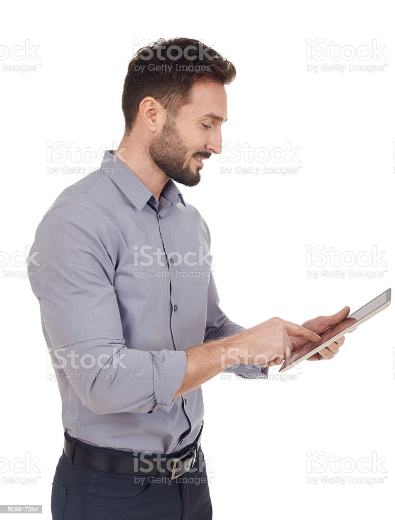 Businessman looking at a digital tablet stock photo