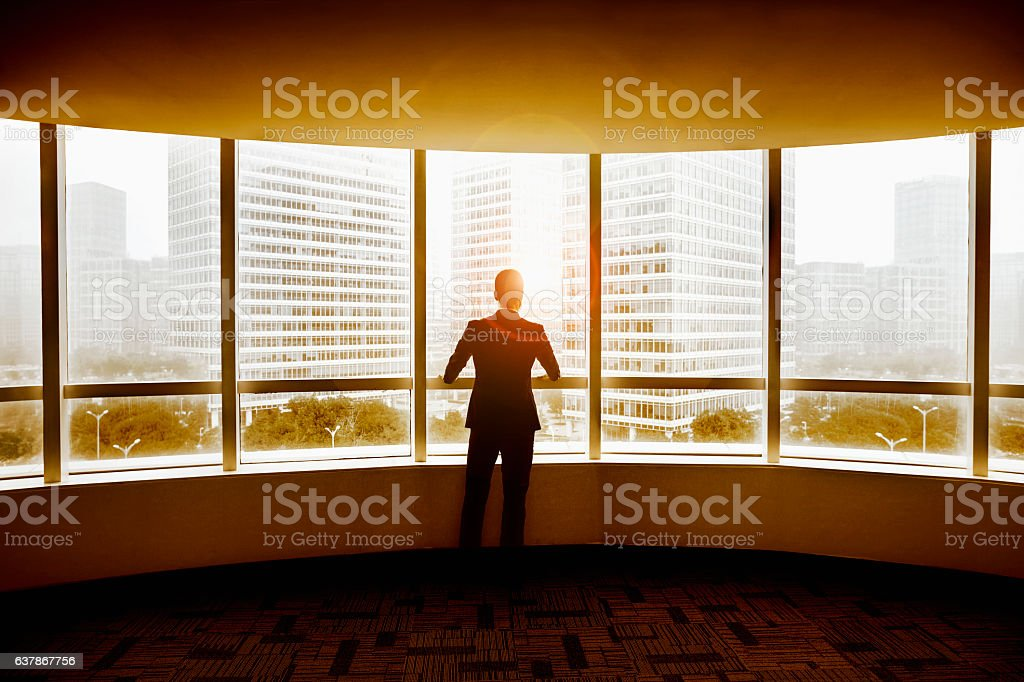 Businessman looking at city in modern office stock photo