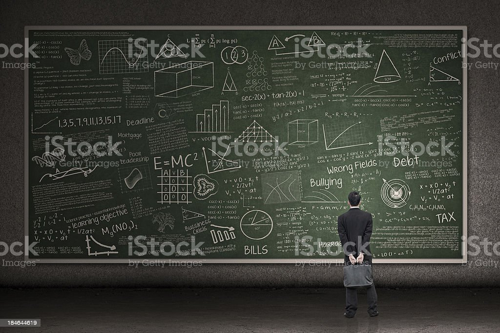 Businessman looking at hand drawn chalkboard stock photo