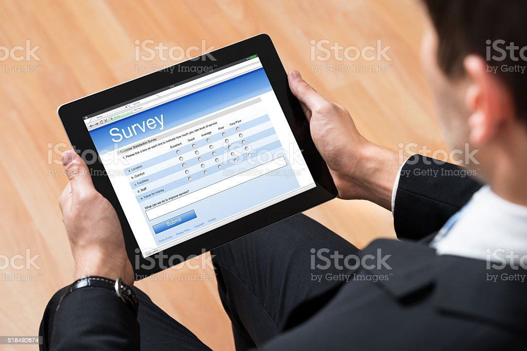 Businessman Looking At Online Survey Form stock photo