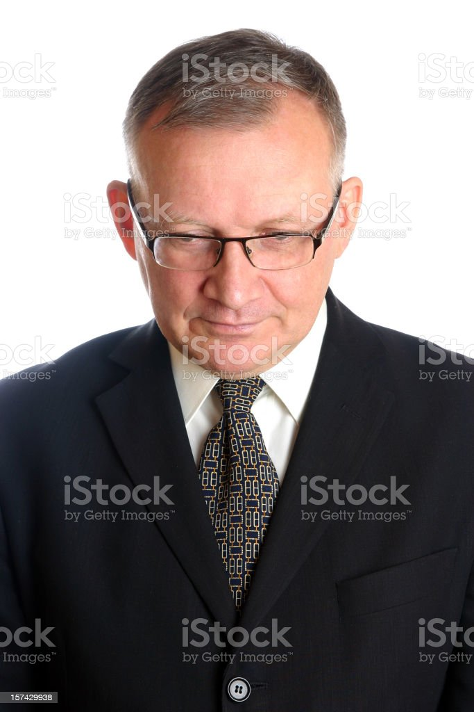 Businessman looking down stock photo