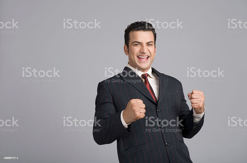Businessman looking excited stock photo