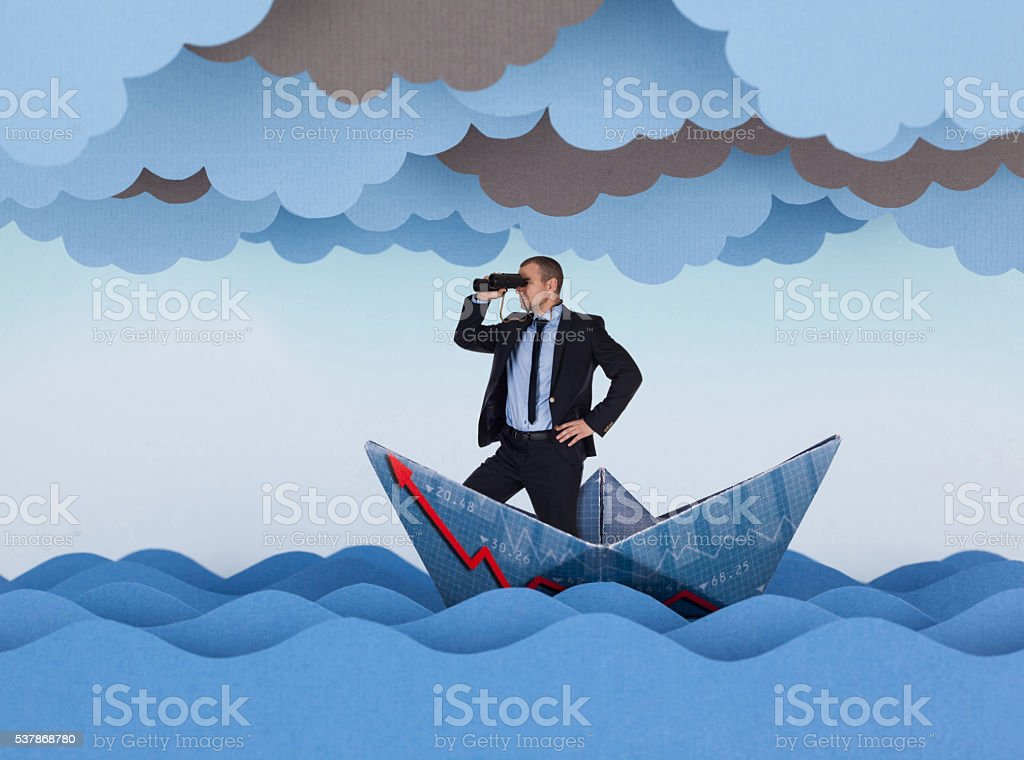 Businessman looking for new opportunities stock photo