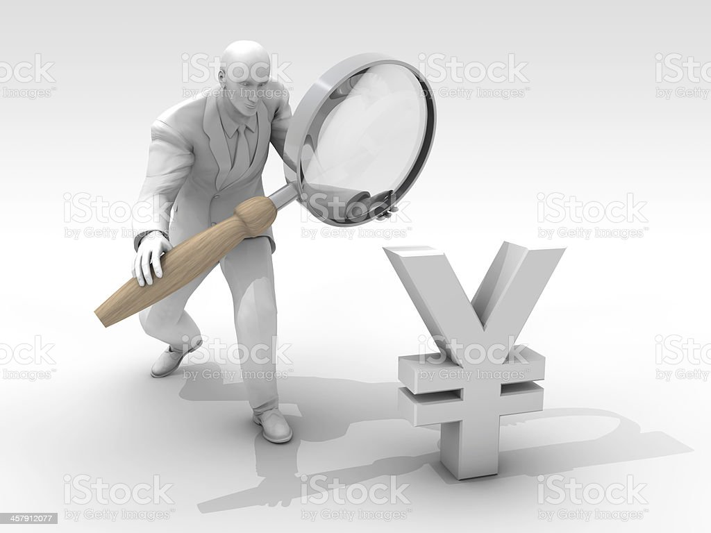 Businessman looking for Yuan royalty-free stock photo