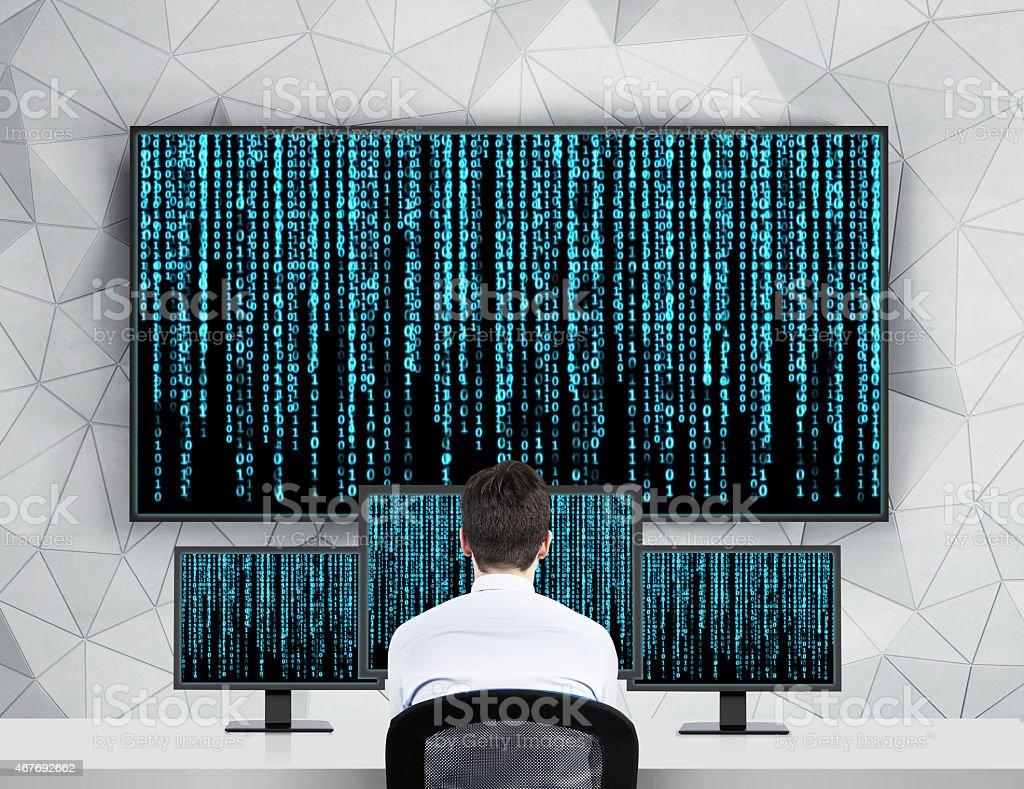 businessman looking matrix stock photo