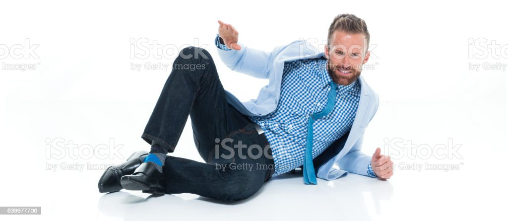 Businessman looking shaka sign stock photo