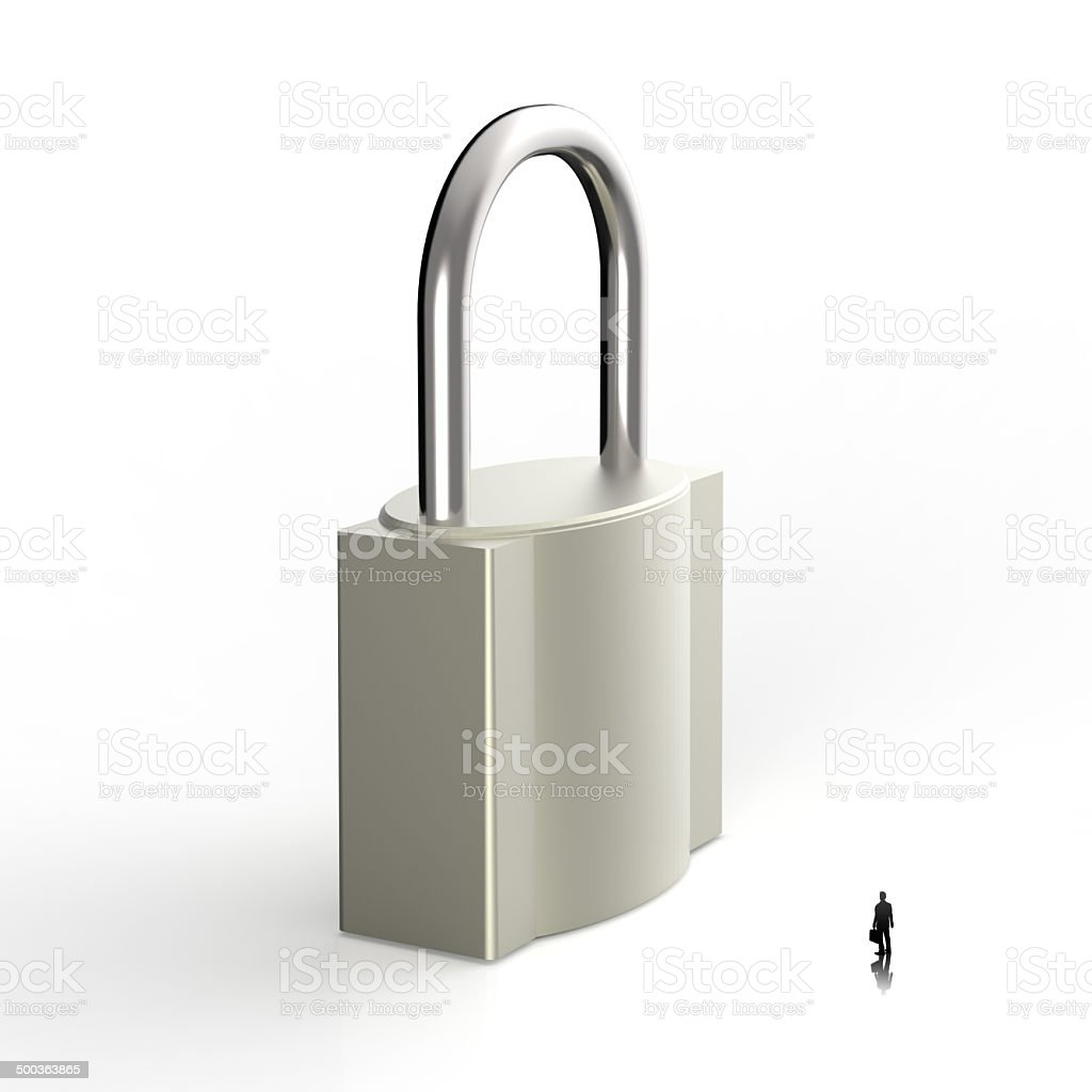 businessman looking to 3d metal padlock as security concept royalty-free stock photo