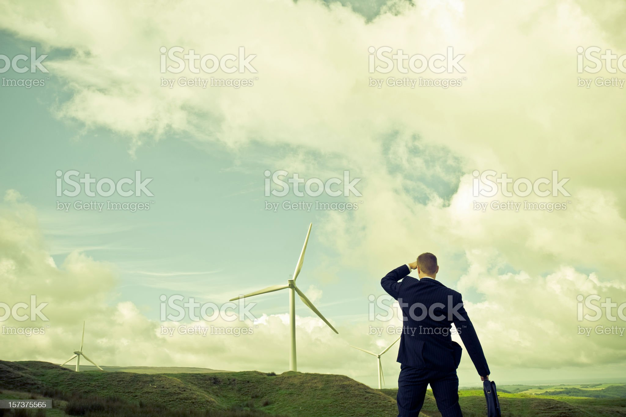 businessman looking to a green business royalty-free stock photo