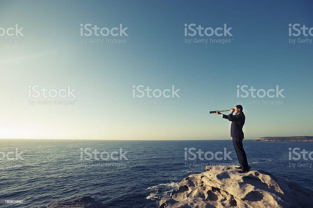 Businessman looking to the future stock photo