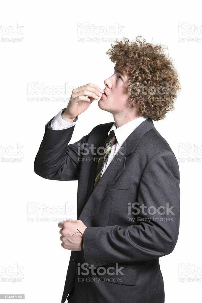 Businessman looking up thinking royalty-free stock photo