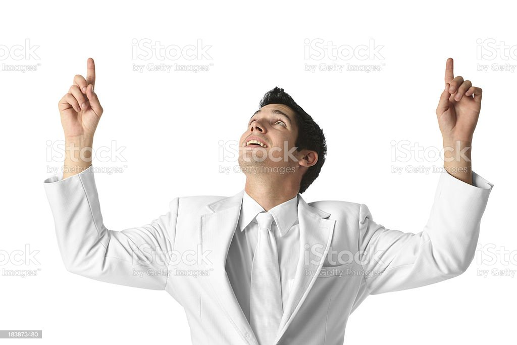 Businessman looking up with raised hands stock photo