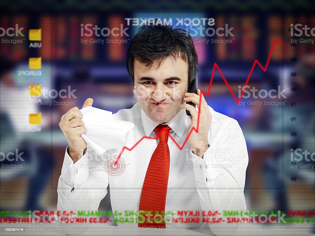 Businessman lost in the stock market royalty-free stock photo