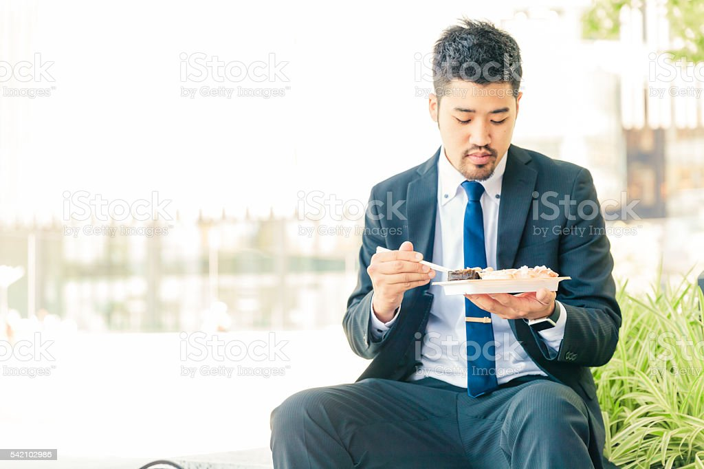 businessman lunch break stock photo