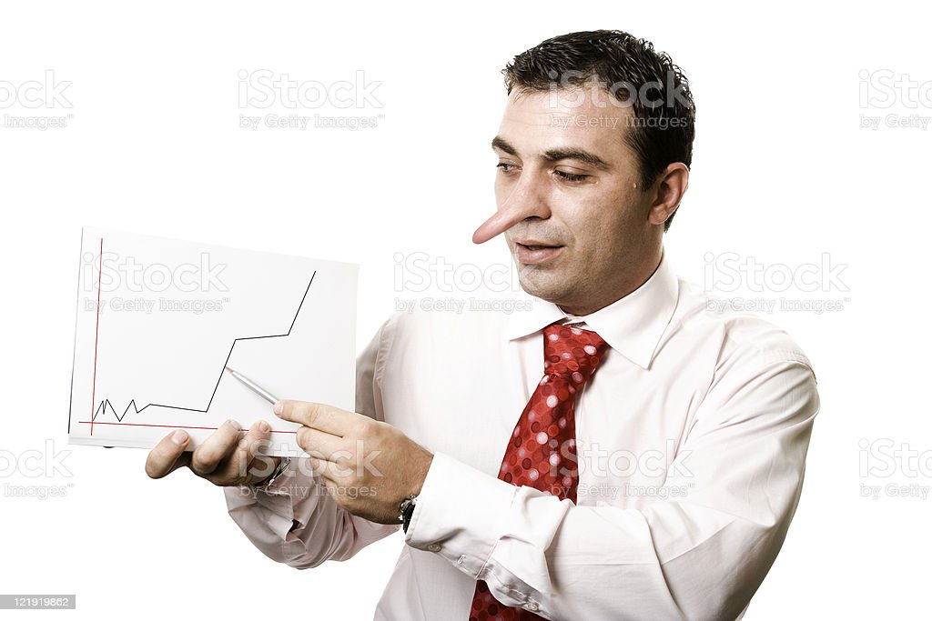 Businessman lying - Pinocchio concept royalty-free stock photo