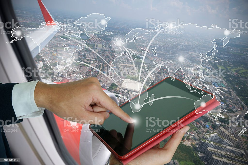 businessman make order online worldwide stock photo