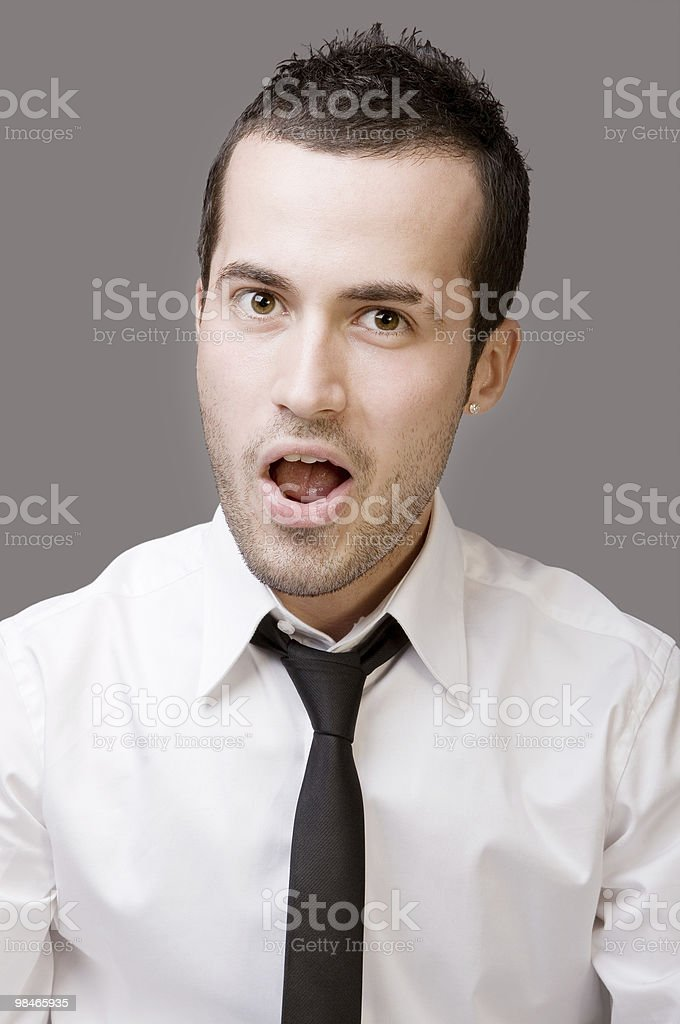 Businessman making a face stock photo