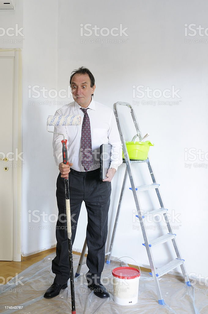 Businessman Making a New Job in Recession Time royalty-free stock photo
