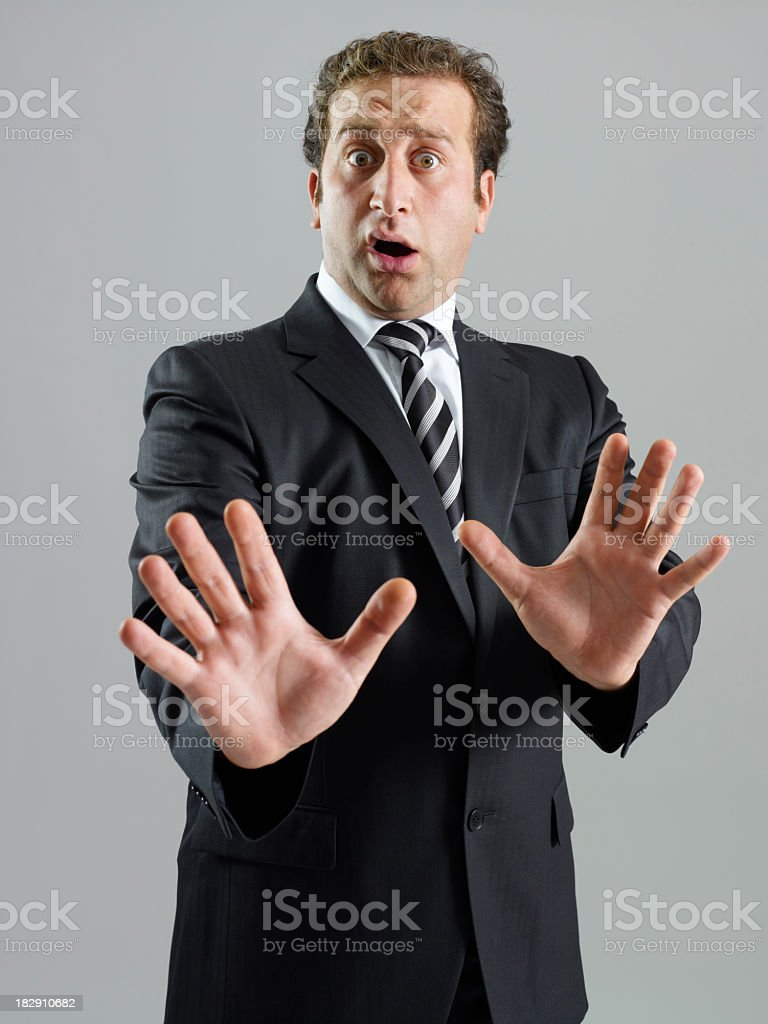 Businessman making a stop gesture royalty-free stock photo