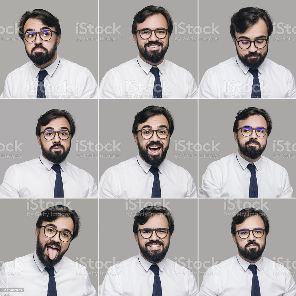 Young businessman making nine different facial expressions. High...