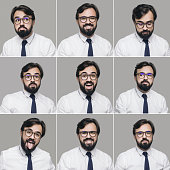 Businessman making different facial expressions