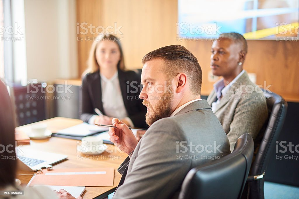 businessman making his point stock photo