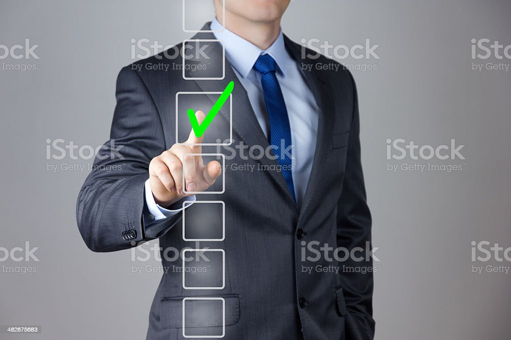 Businessman making right decision stock photo